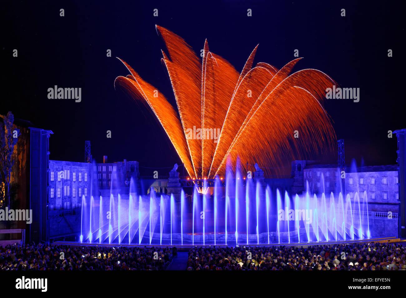 Final fireworks, musical Anatevka, Seefestspiele operetta festival on Mörbisch Seebühne floating stage, - Stock Image