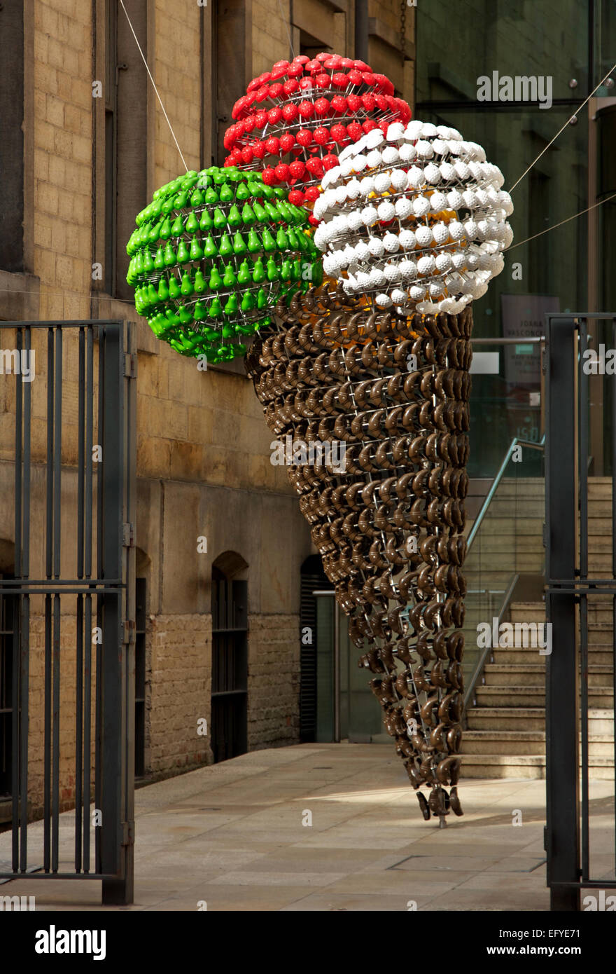 Artistic icecream cone at the entrance to Manchester Art Gallery, England - Stock Image