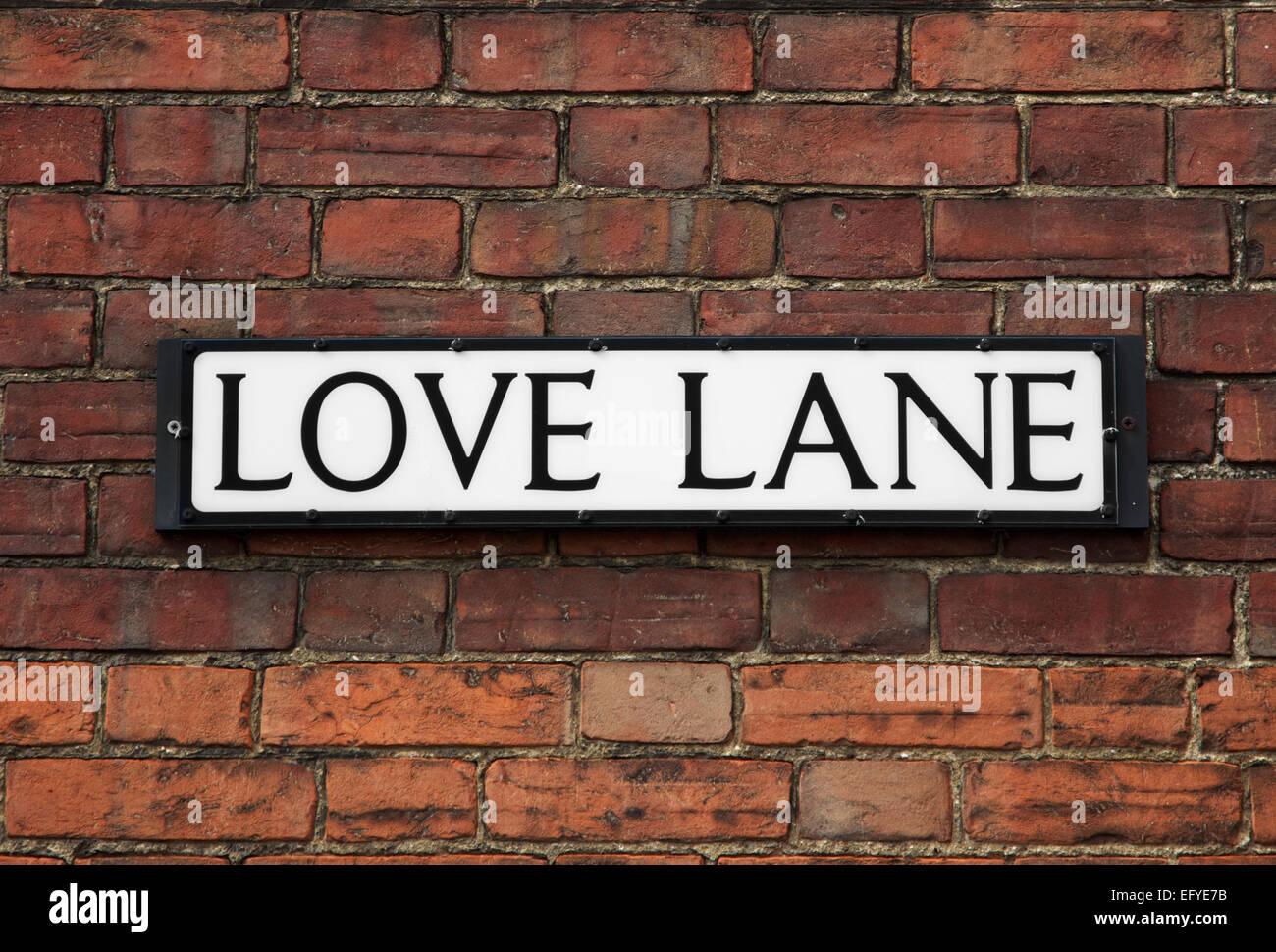 Romantic street sign - Stock Image