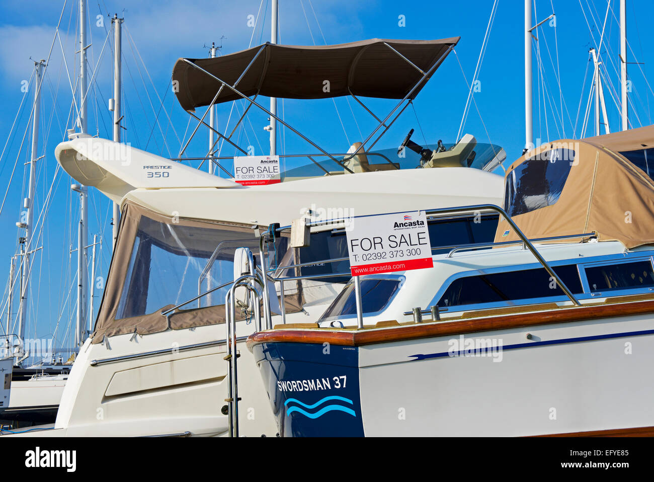 Luxury boats for sale in the marina at Port Solent, Portsmouth, Hampshire, England UK - Stock Image