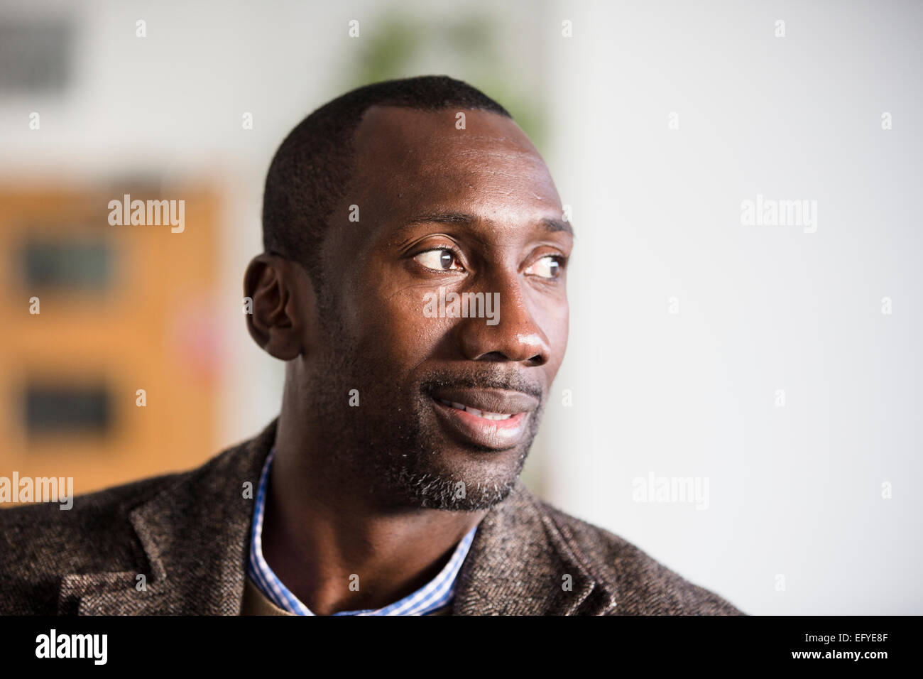 Jimmy Floyd Hasselbaink, former Chelsea player, now manager of Burton Albion Football Club - Stock Image