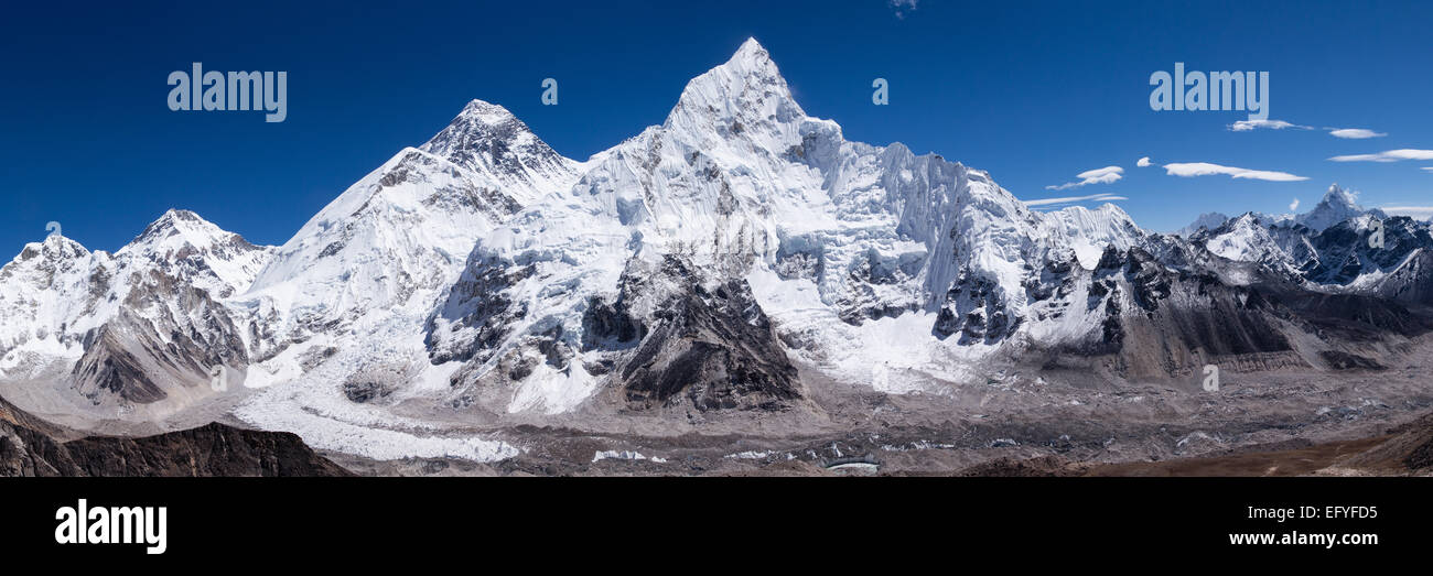 A panoramic shot of Mount Everest and Nuptse - Stock Image