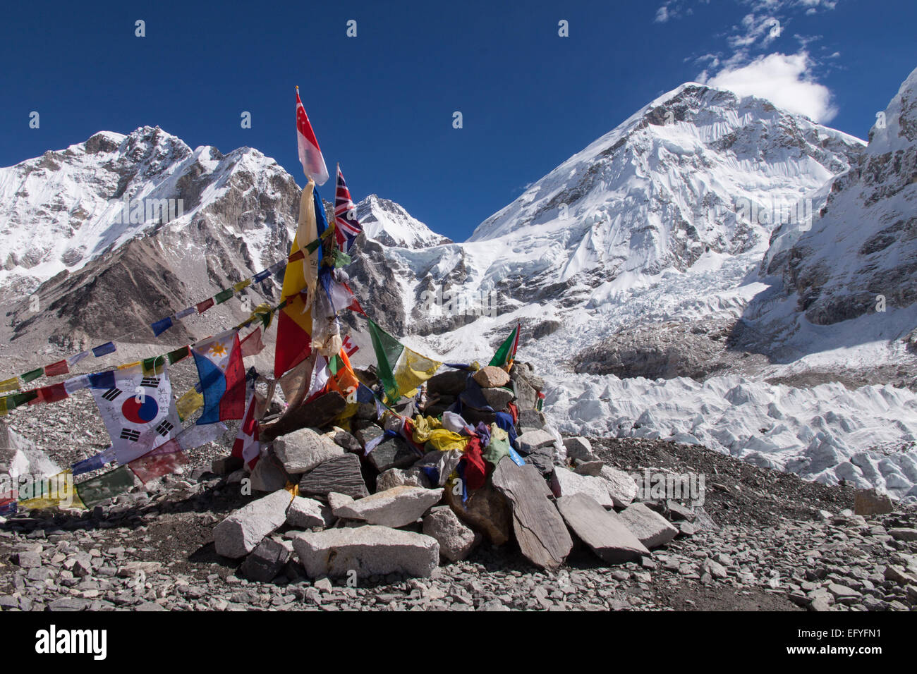 A memorial at Everest Base Camp in Nepal - Stock Image