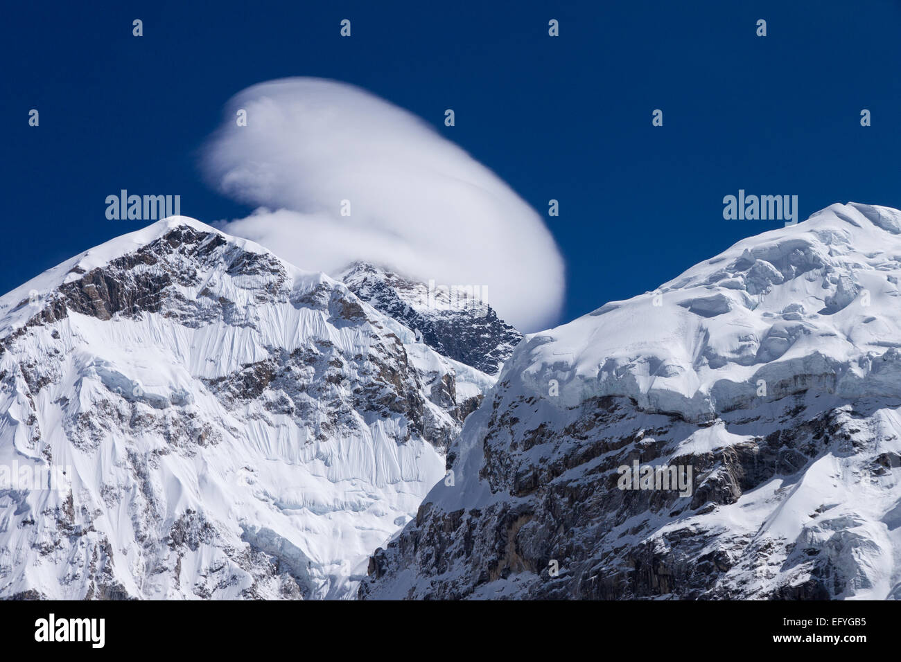 A storm brewing over Mount Everest - Stock Image
