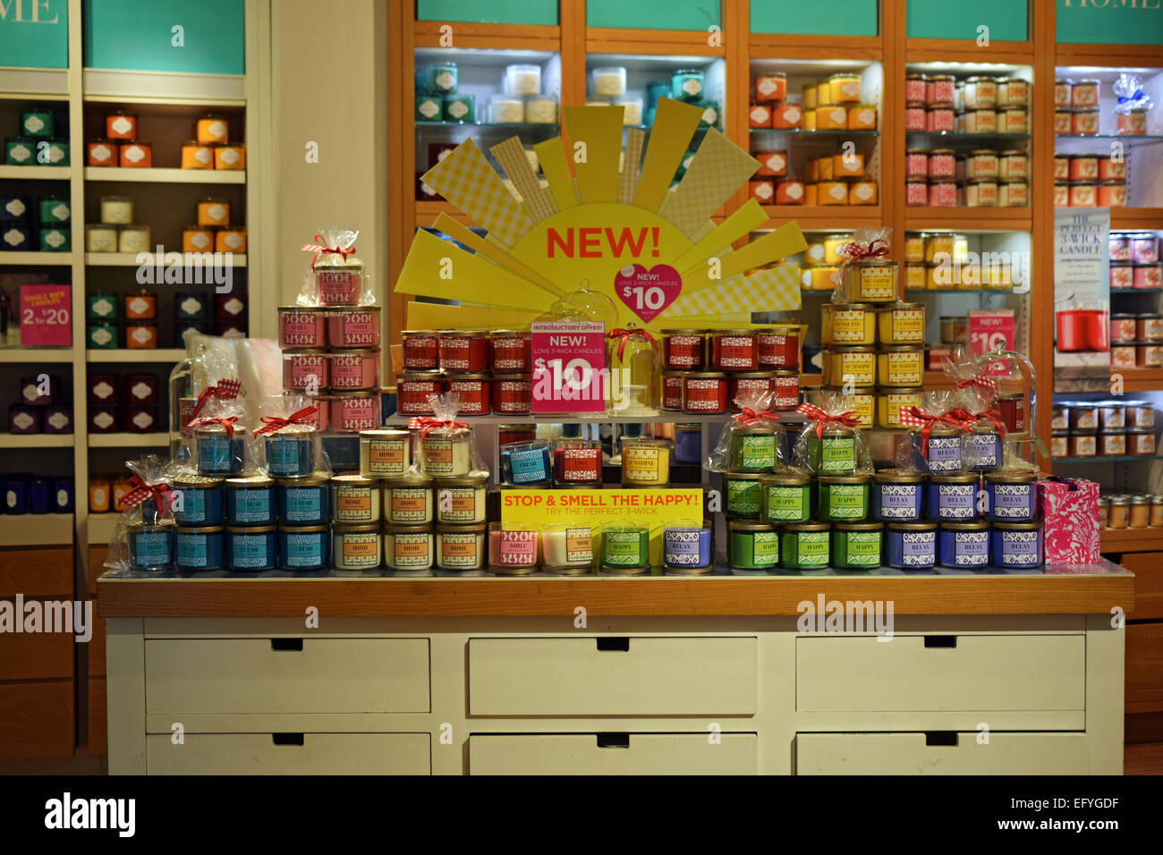 scented candles for sale at a bath body works store in the stock photo 78666939 alamy. Black Bedroom Furniture Sets. Home Design Ideas
