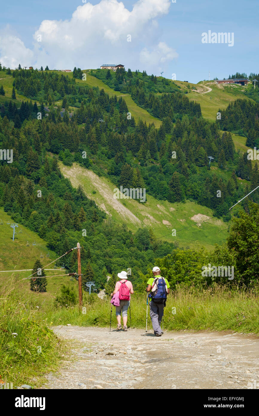 Walkers in the French Alps near Prarion, Chamonix Valley, France, Europe - Stock Image