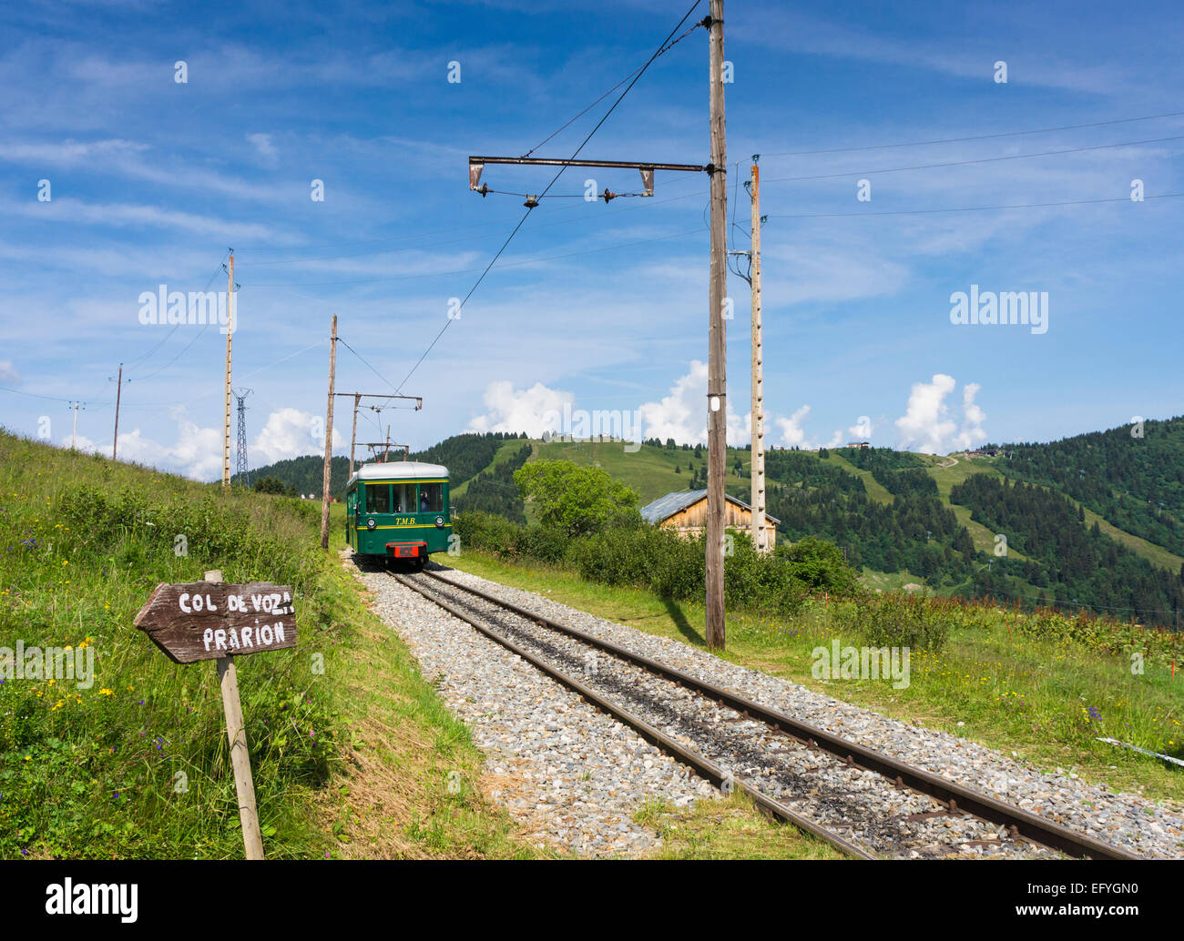 The famous Mont Blanc mountain cog train or tramway, at Bellevue, Chamonix Valley, French Alps, France - Stock Image