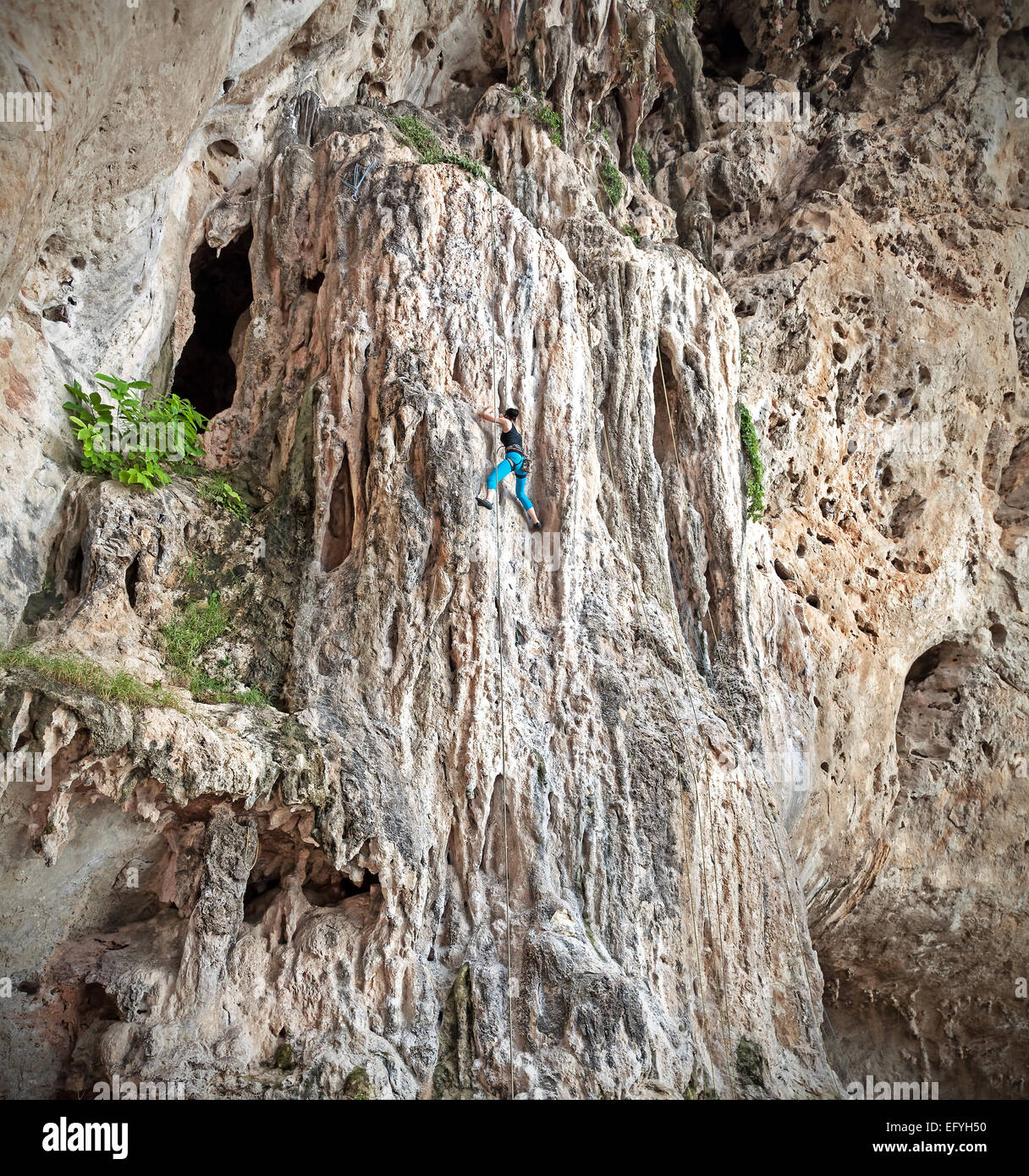 Young female rock climber on incredible wall, Railay Beach in Thailand. - Stock Image