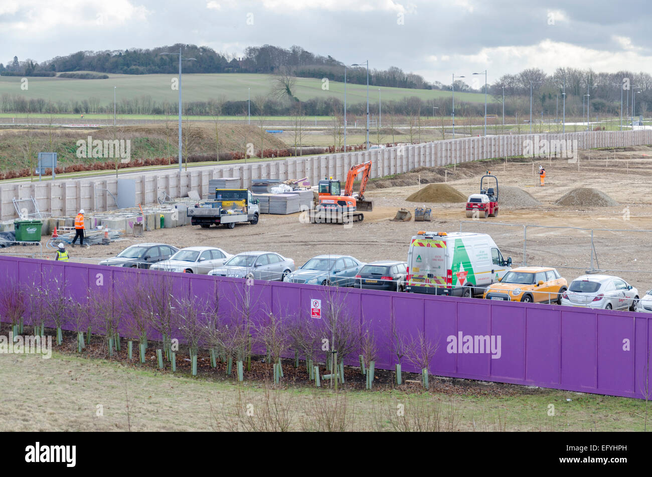 Construction site for AstraZeneca on the Cambridge Biomedical Campus. Cambridge, UK - Stock Image