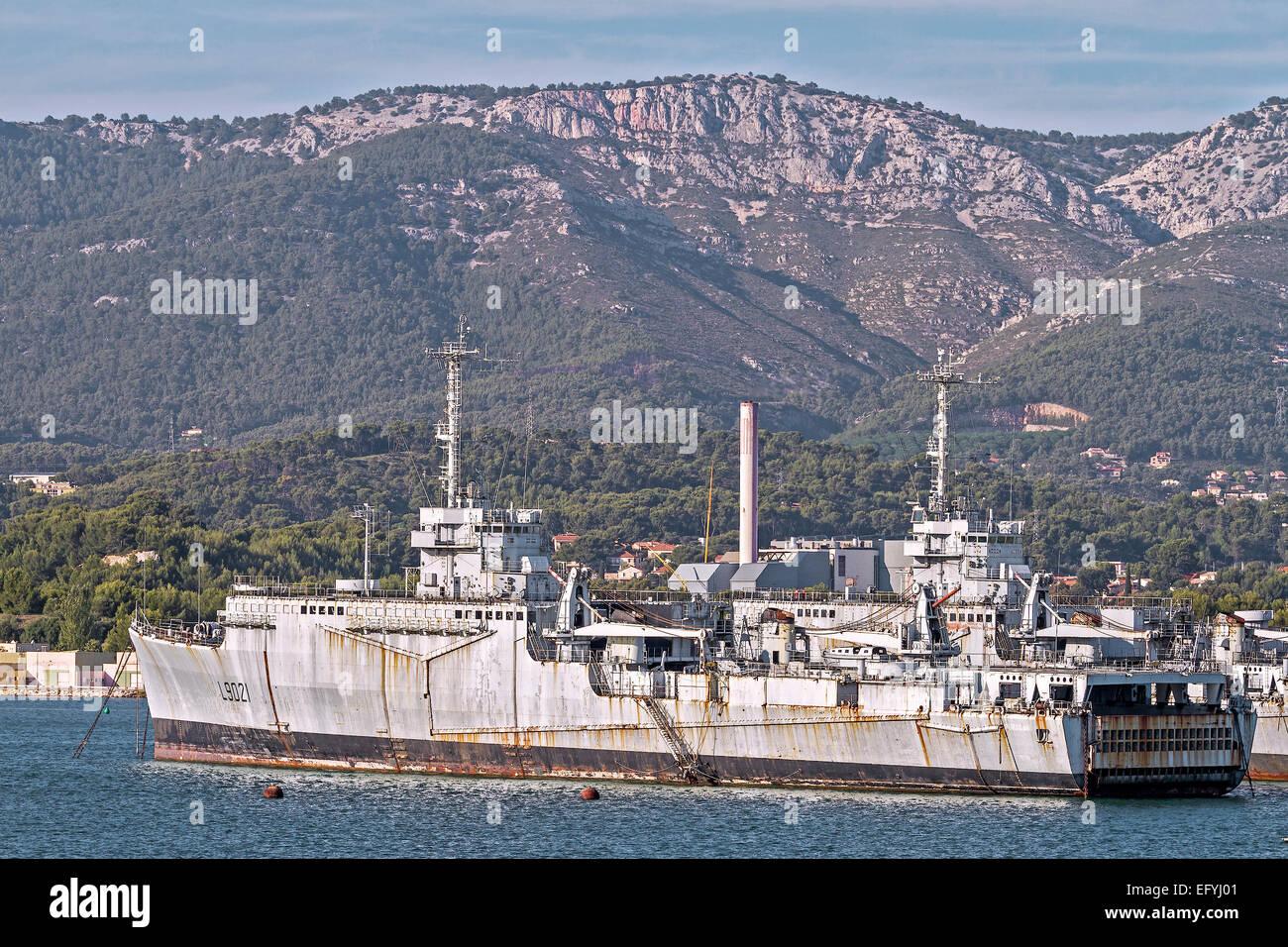 French Navy Ship Ouragan Toulan France - Stock Image