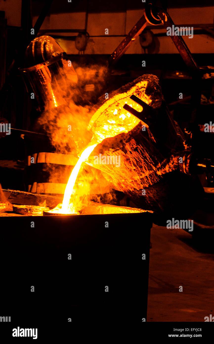 Close Up of Molten Metal. In bull ladle/crucible , # ... |Molten Metal Crucible