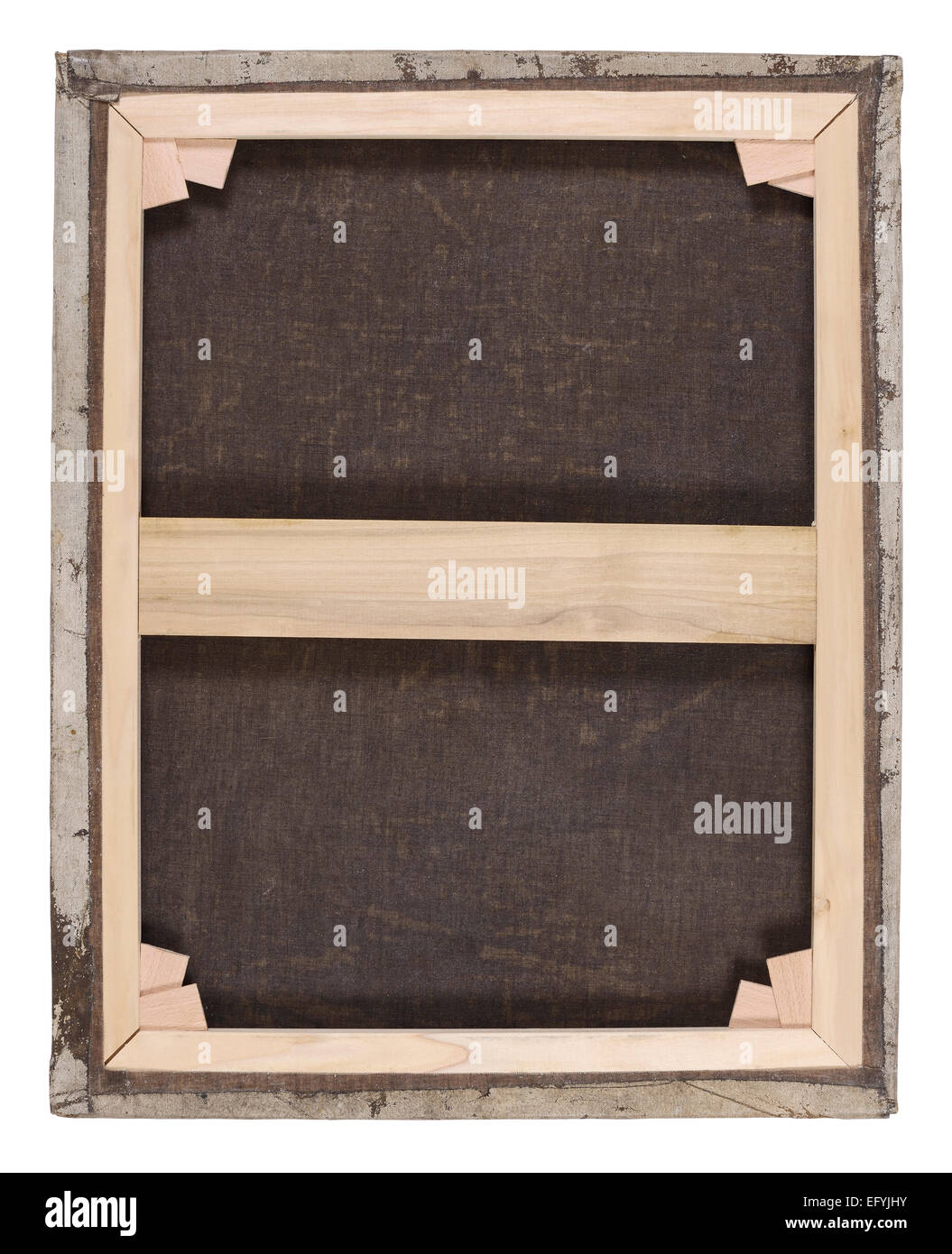 The back of an old oil painting canvas with a new stretcher frame and corner wedges - Stock Image
