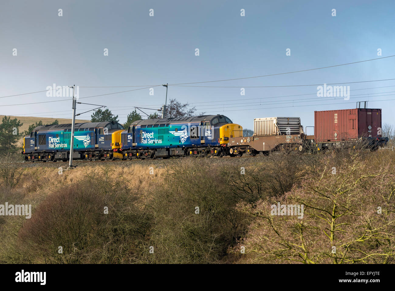 Direct Rail Services rail freight company transports all nuclear fuel to, and nuclear waste from Britain's nuclear - Stock Image