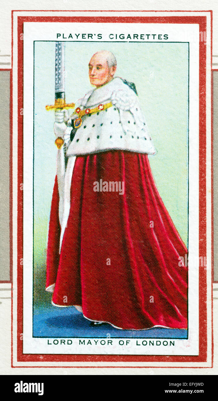 Player`s cigarette card - Lord Mayor of London - Stock Image