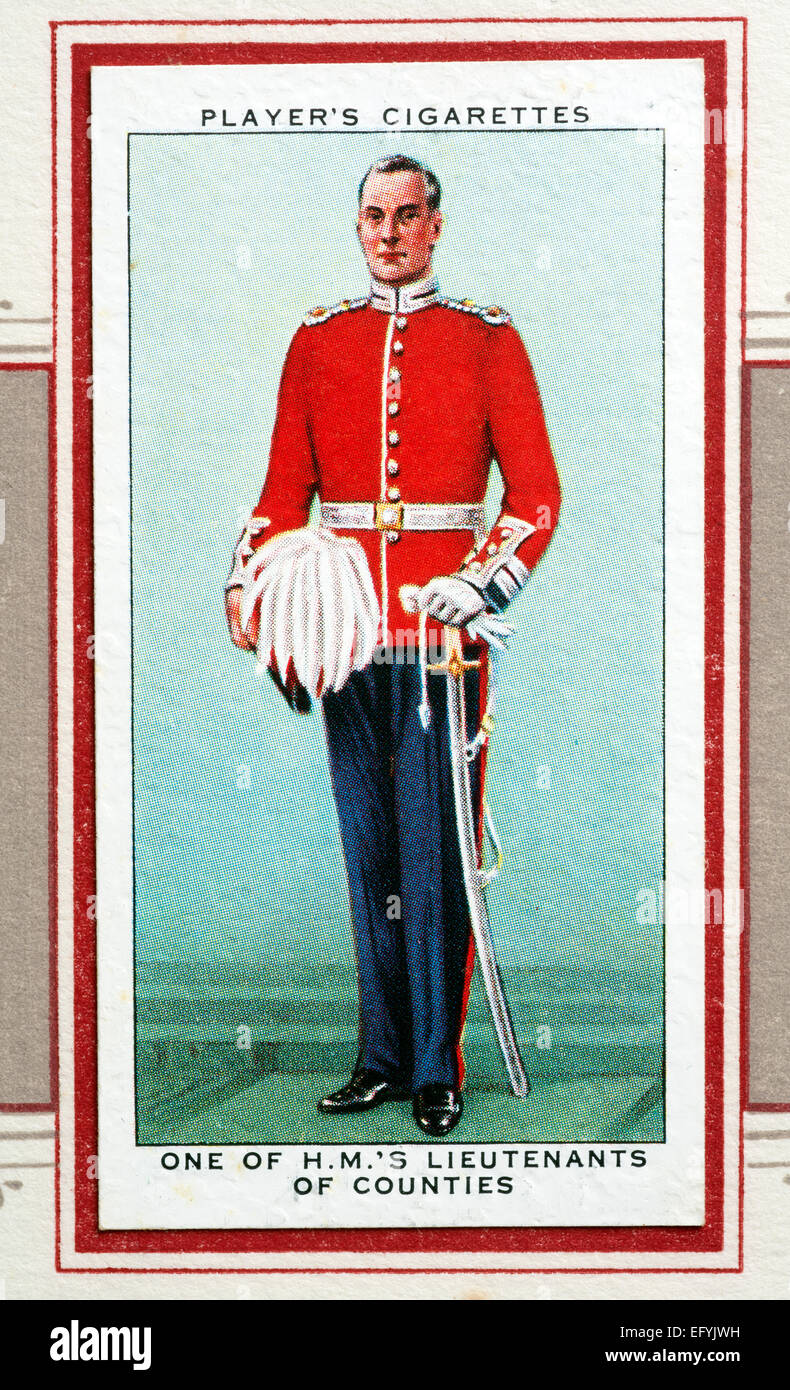 Player`s cigarette card - One of H.M.`s Lieutenants of Counties. Stock Photo