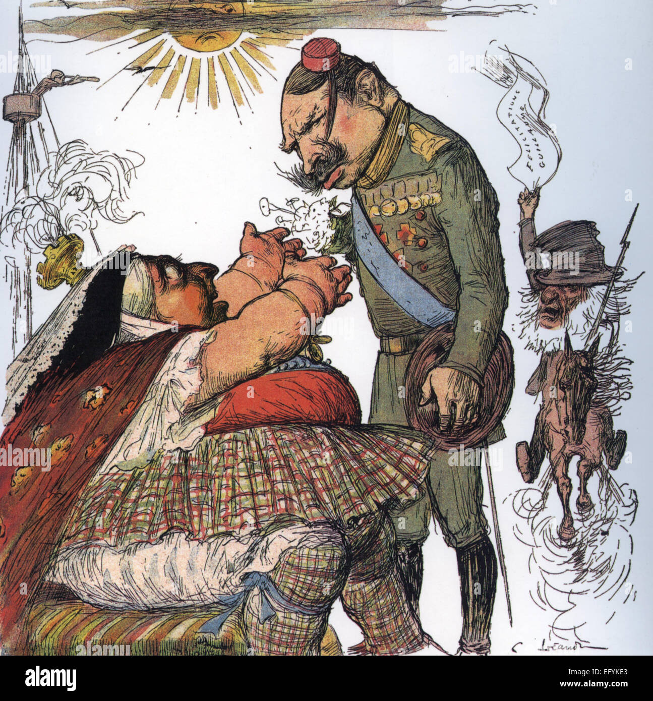 BOER WAR Cartoon on the cover of French satirical magazine Le Rire on 2 December 1899. Kaiser Wilhelm slyly meets - Stock Image