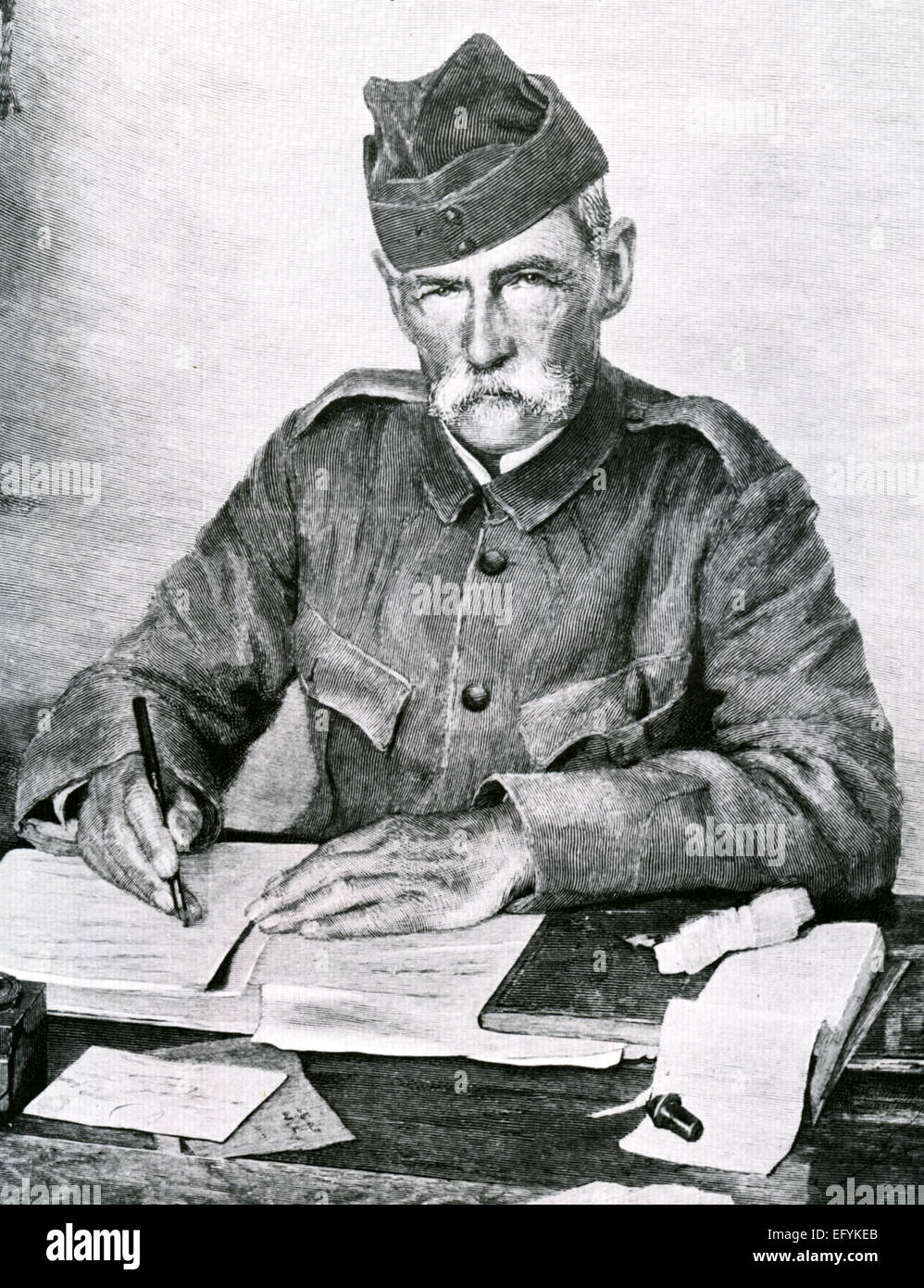 FREDERICK ROBERTS, 1st Earl Roberts (1832-1914) British soldier  before the capture of Bloemfontein in 1900 during - Stock Image