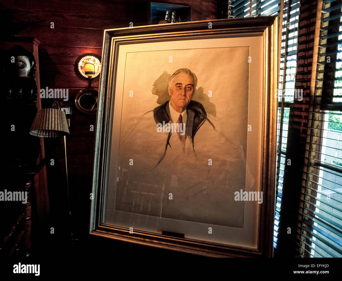 A watercolor portrait of U.S. President Franklin Delano Roosevelt was being painted the day he died in 1945 on vacation - Stock Image