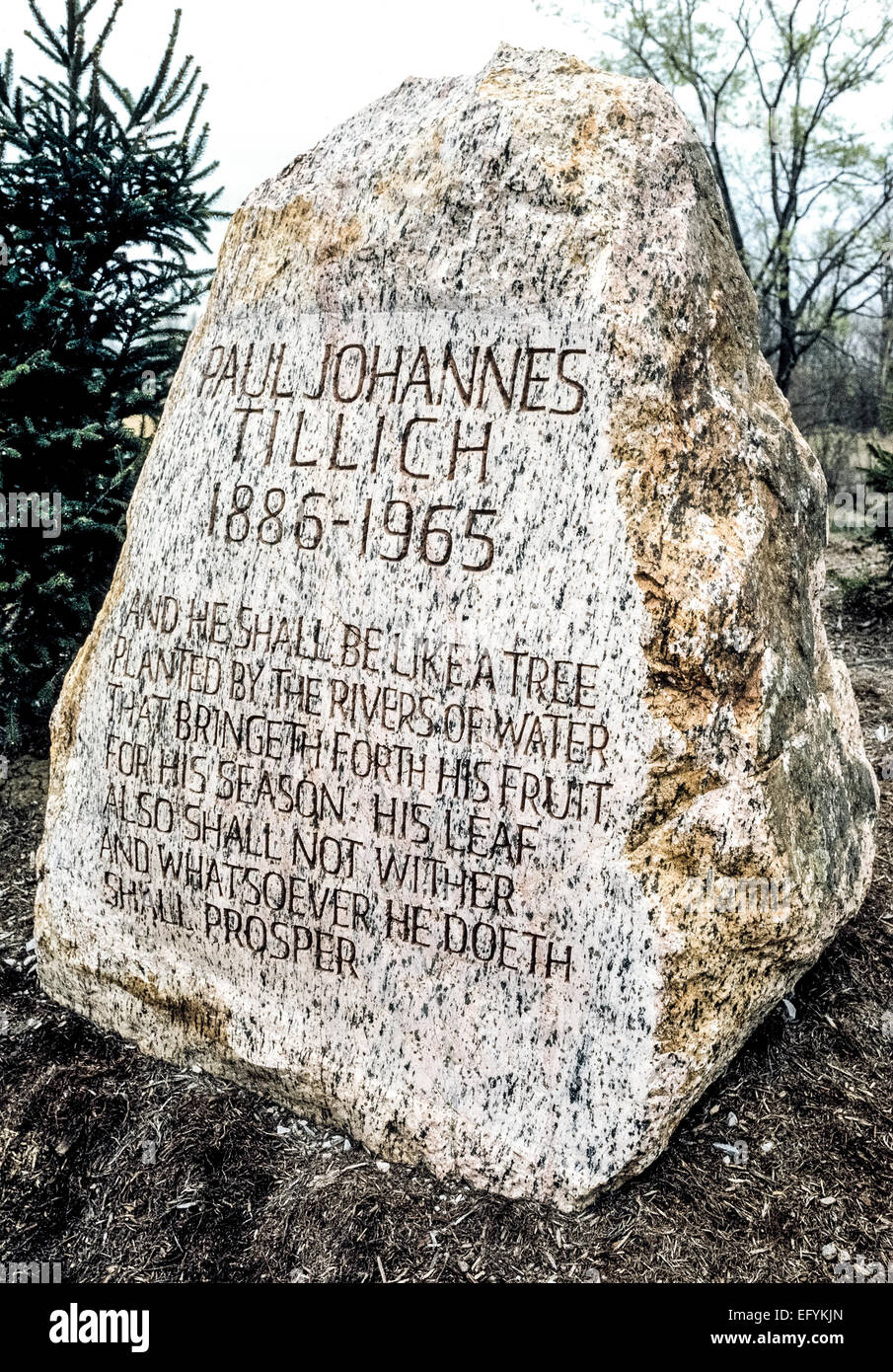 The ashes of well-known German-born theologian and philosopher Paul Tillich are buried beneath this modest gravestone - Stock Image