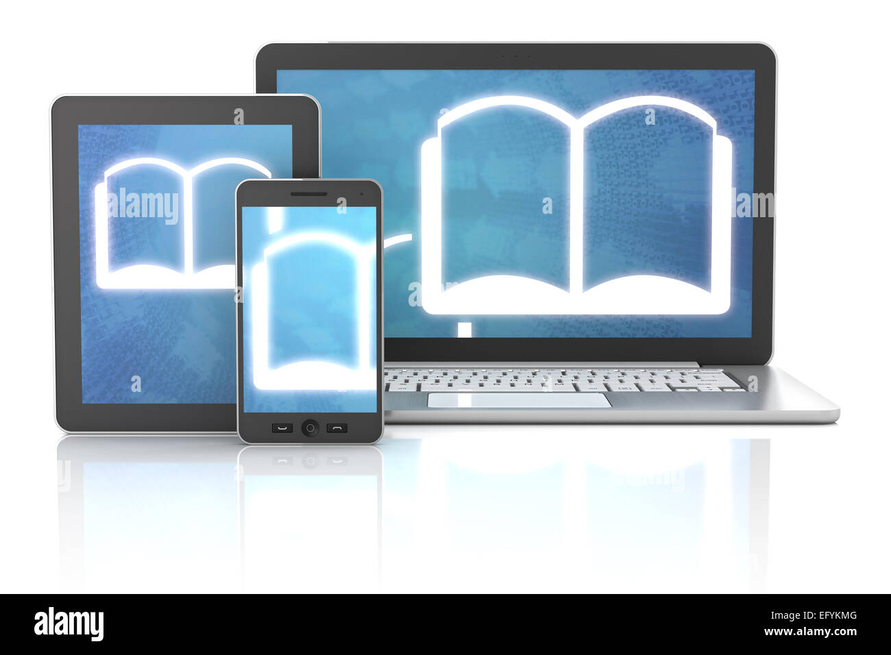 ebook icons on smartphone, digital tablet and laptop, 3d render - Stock Image