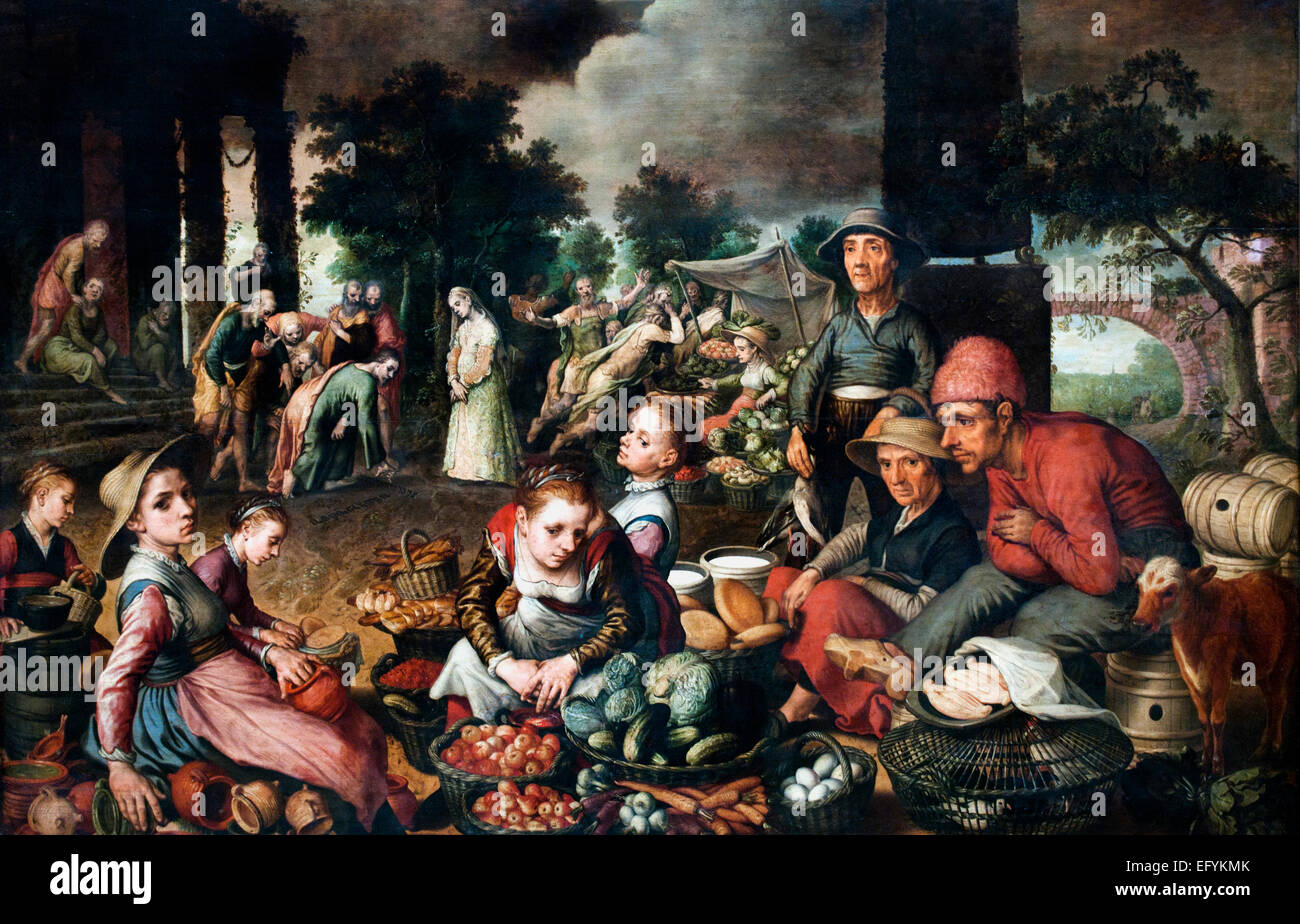 Market with Christ and the Woman Taken in Adultery 1559 Pieter Aertsen (circa 1508–1575)  Dutch Netherlands  ( Pieter - Stock Image