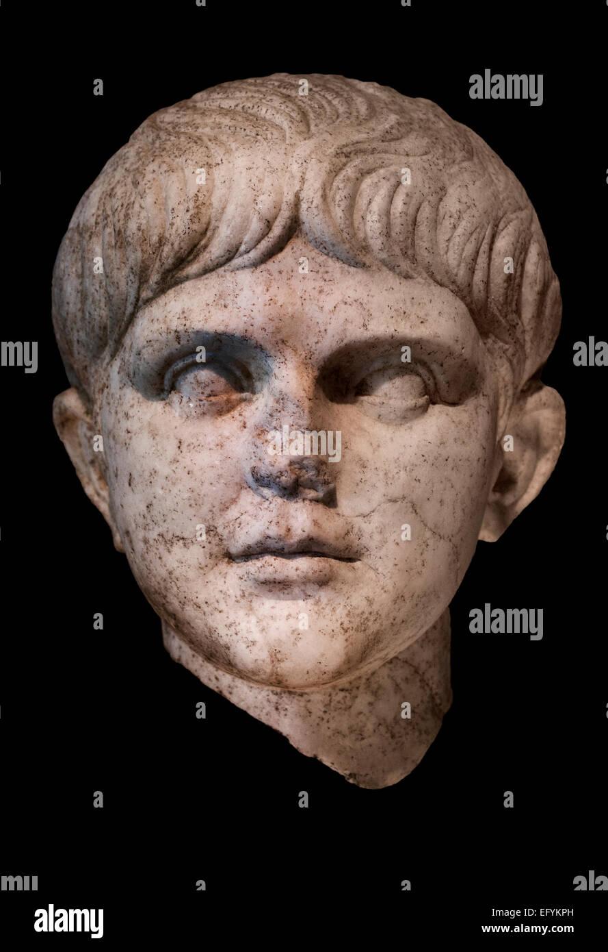 Emperor Nero (reigned 54-68 AD) around 50 AD  Roman Germanic Museum Cologne Germany - Stock Image