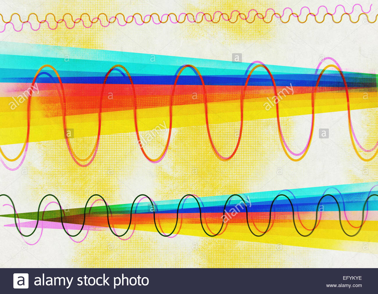 Scientific retro illustration of light spectrum with oscillating waves - Stock Image