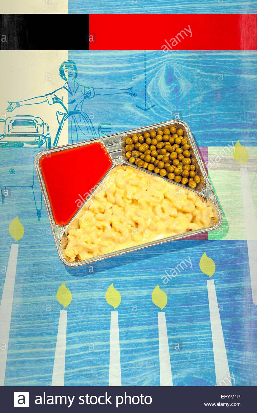 TV dinner kitsch fast food retro display advert - Stock Image