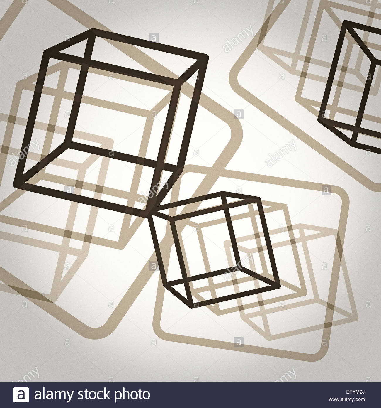 Boxed Geometric style with grain - Stock Image