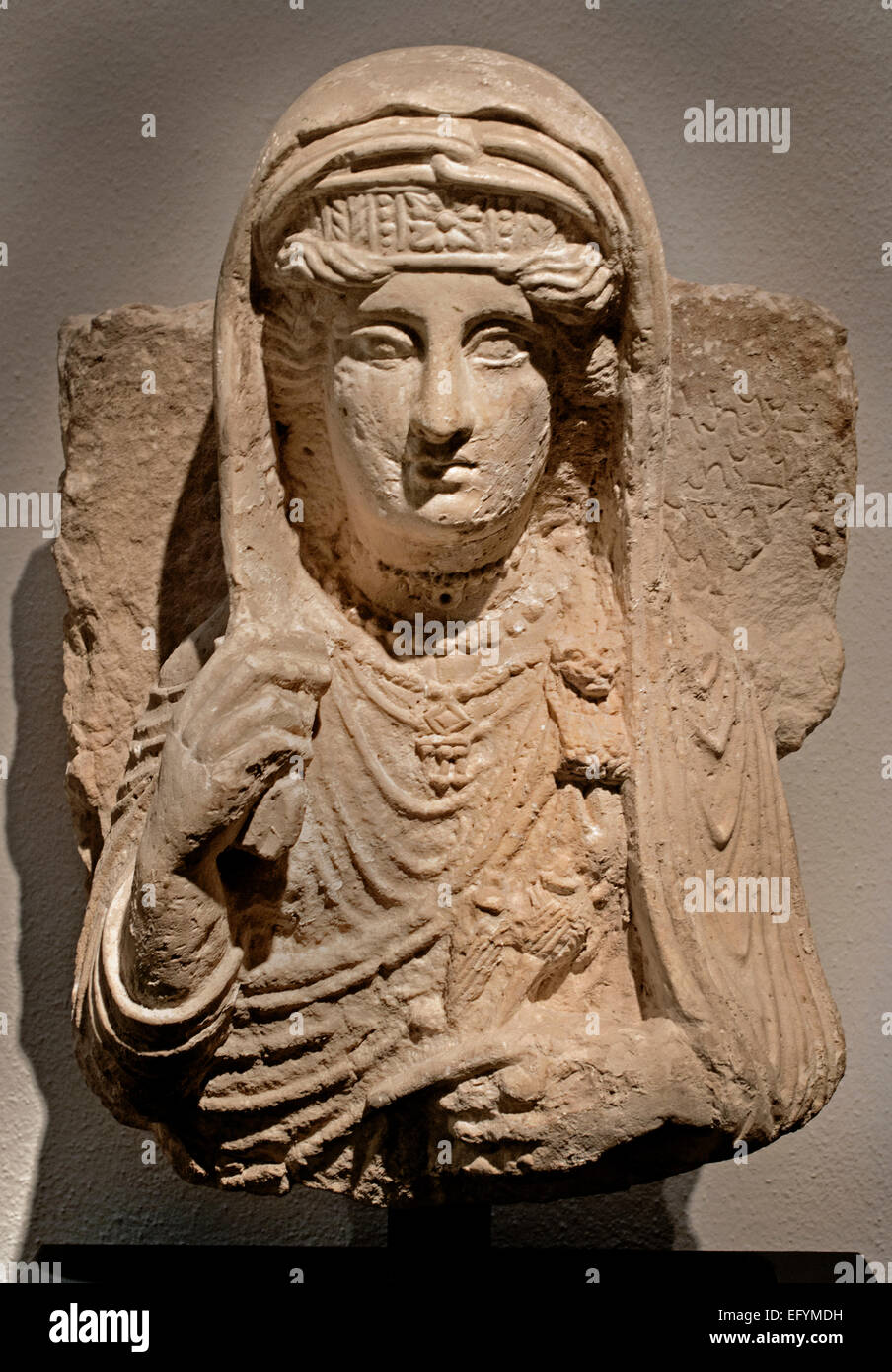 Funerary relief with bust of woman from Palmyra 2 Century   Germanic Museum Cologne Germany - Stock Image