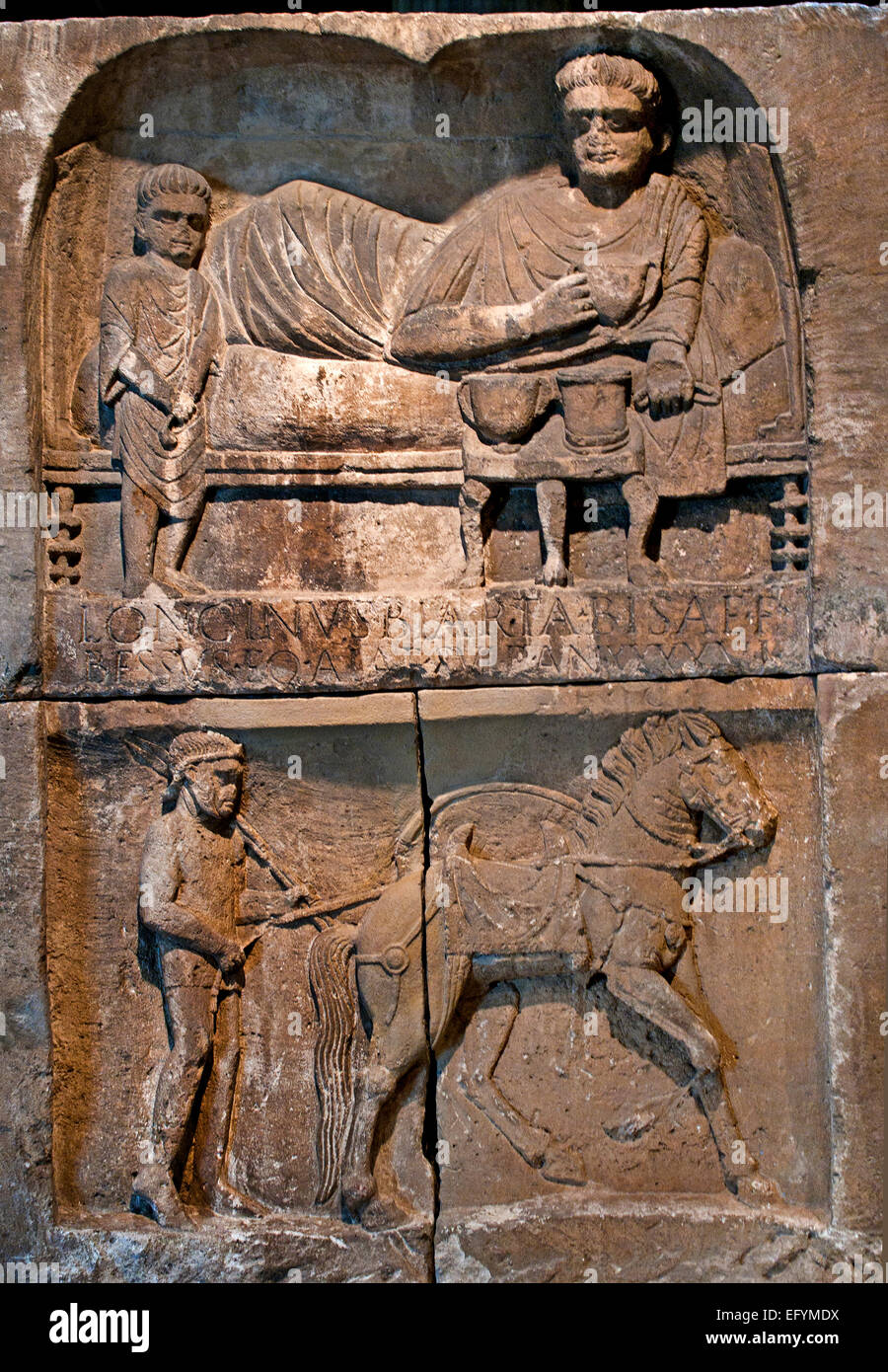 Grave stone of the cavalryman Longinus, 80-90 AD Roman Germanic Museum Cologne Germany - Stock Image