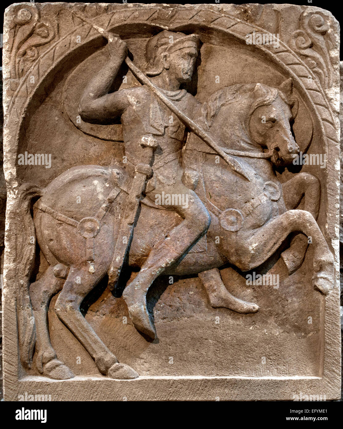 Grave monument of a cavalryman, 1st C. AD Roman Germanic Museum Cologne Germany - Stock Image