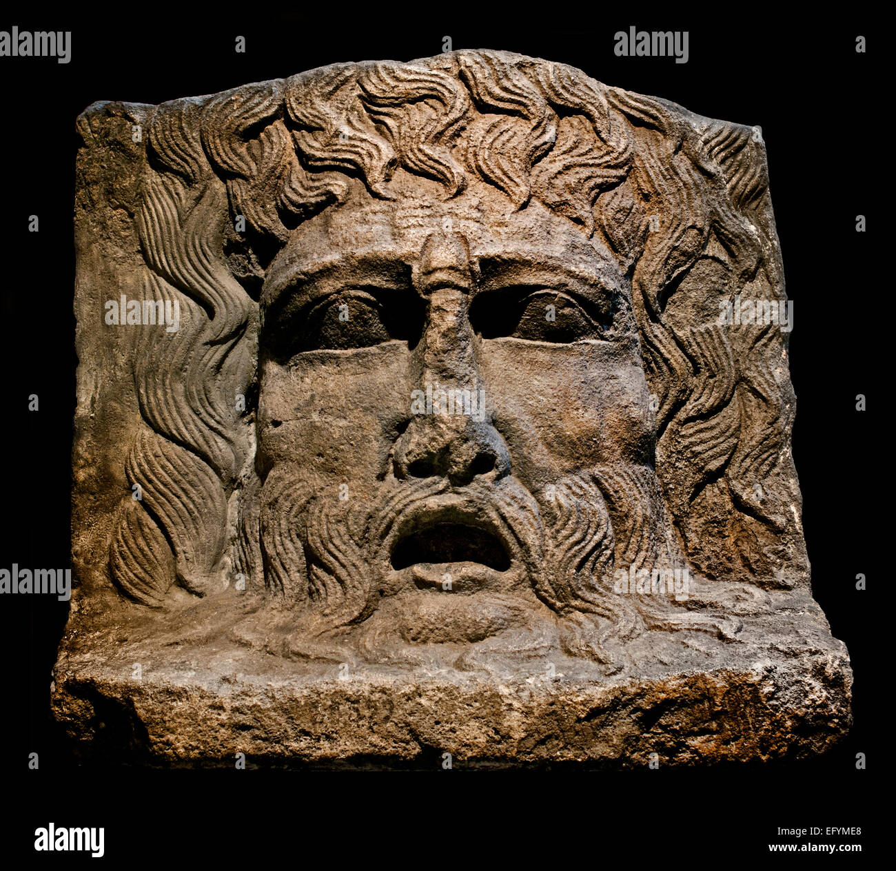 A river god depicted as an old man Roman Germanic Museum Cologne Germany - Stock Image