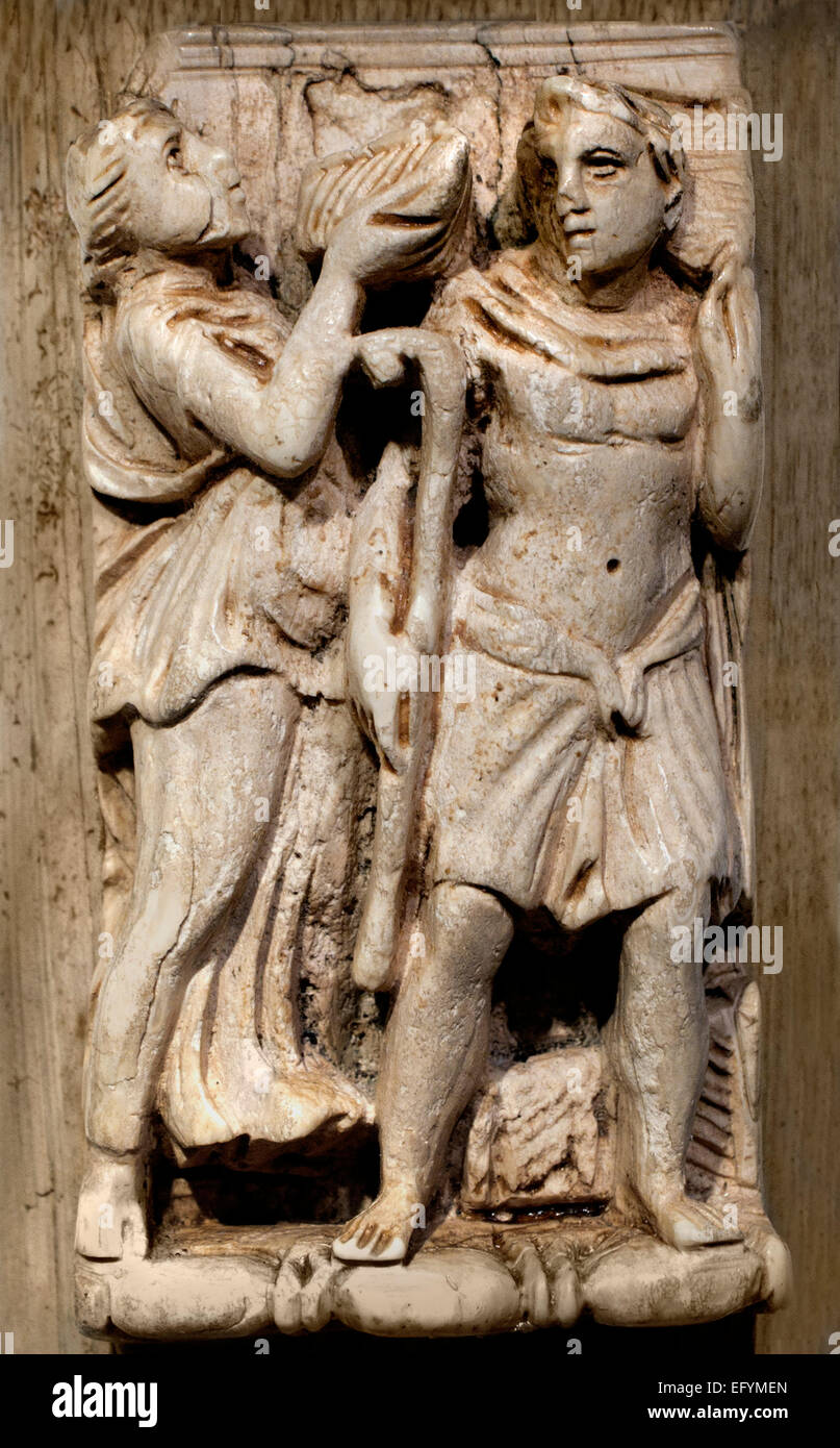 Ivory box with relief maenad and satyr Roman Germanic Museum Cologne Germany Stock Photo