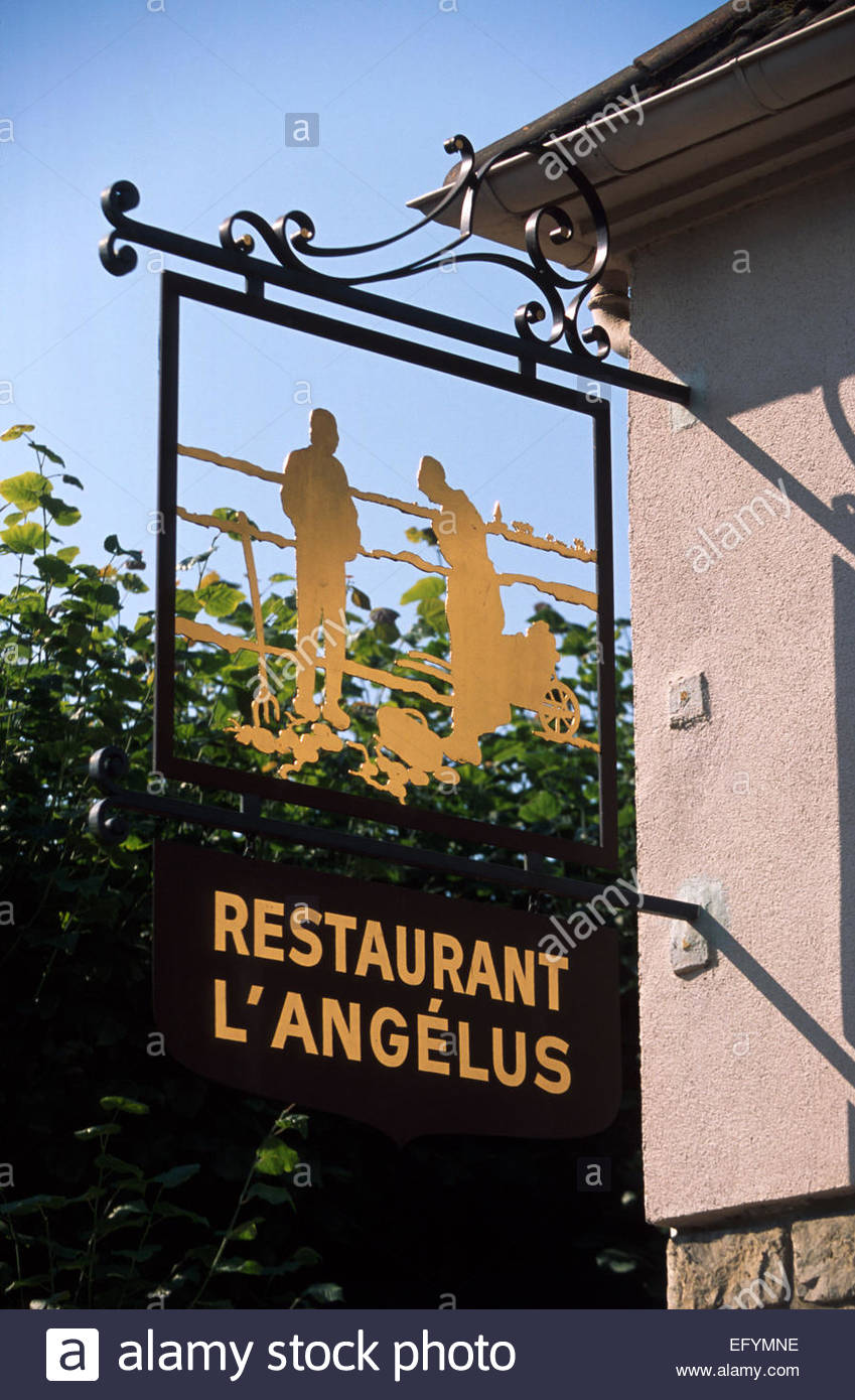 Barbizon, Seine et Marne, The Angelus restaurant's sign - Stock Image