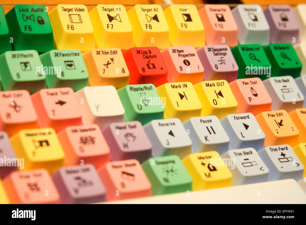 Keys on a video editing keyboard - Stock Image
