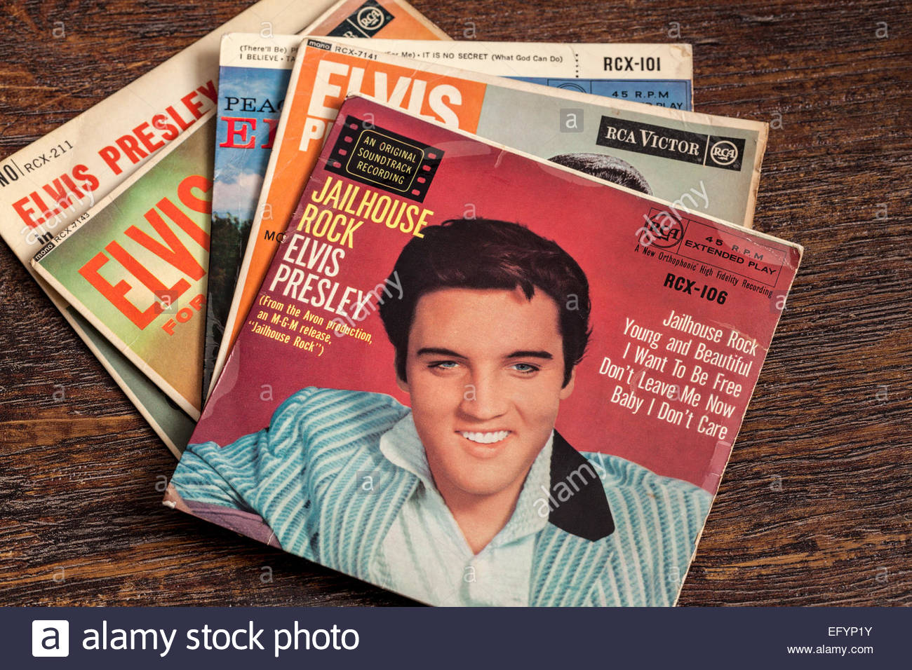 A collection of Elvis Presley singles including Jailhouse Rock - Stock Image