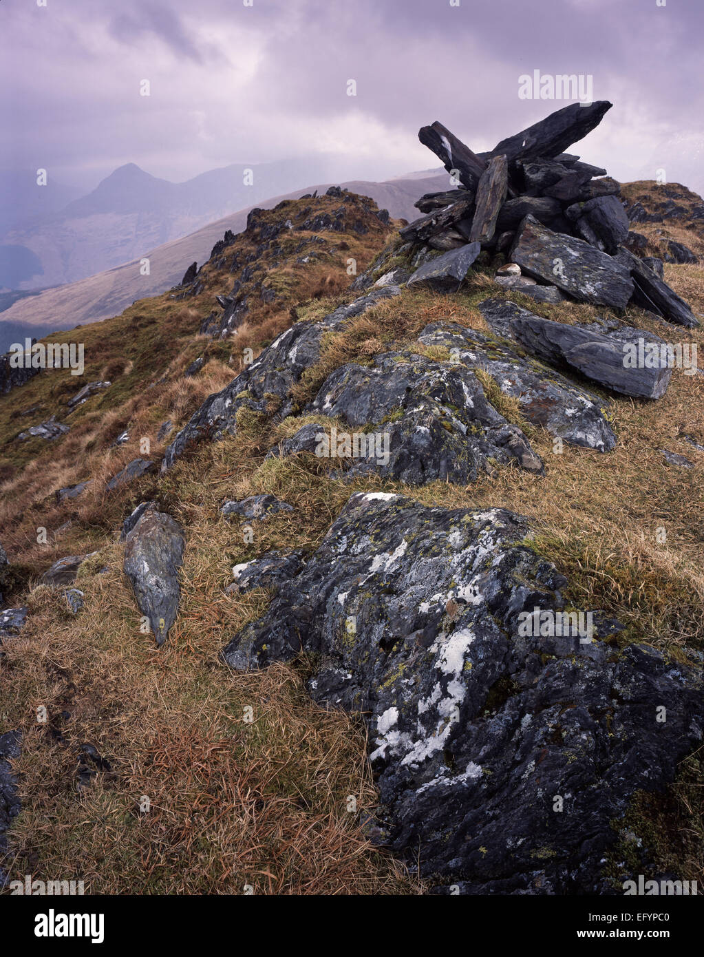 Sgurr na Ciche, The Pap of Glencoe, viewed from Sgurr a'Choise above Glen Creran, Argyll, Scotland - Stock Image