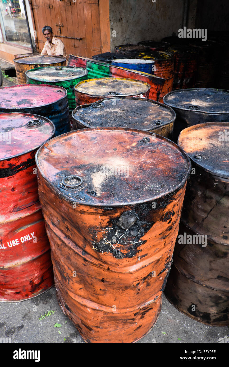 Oil price slump - empty barrels of oil - Stock Image