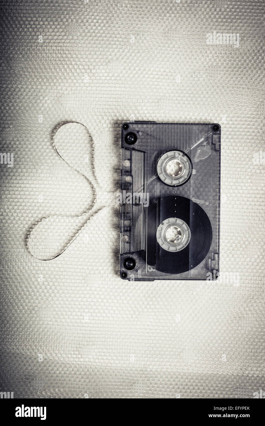 Top view of vintage transparent cassette tape Stock Photo
