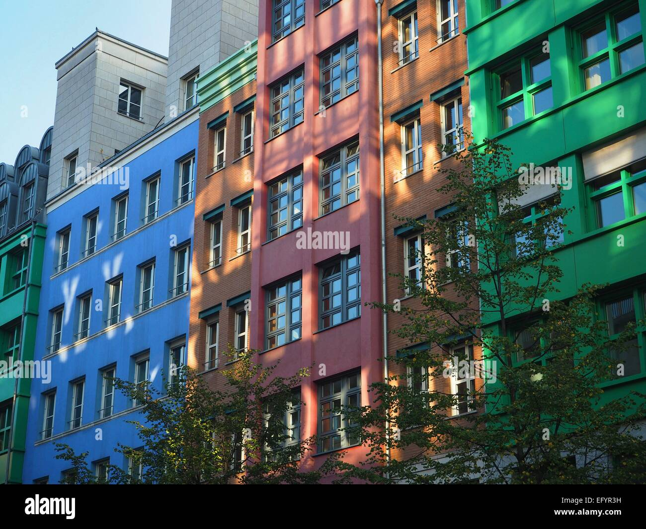 Modern colorfull buildings - containing flats and offices - are seen in Berlin Mitte on October 05, 2014. Photo: Stock Photo