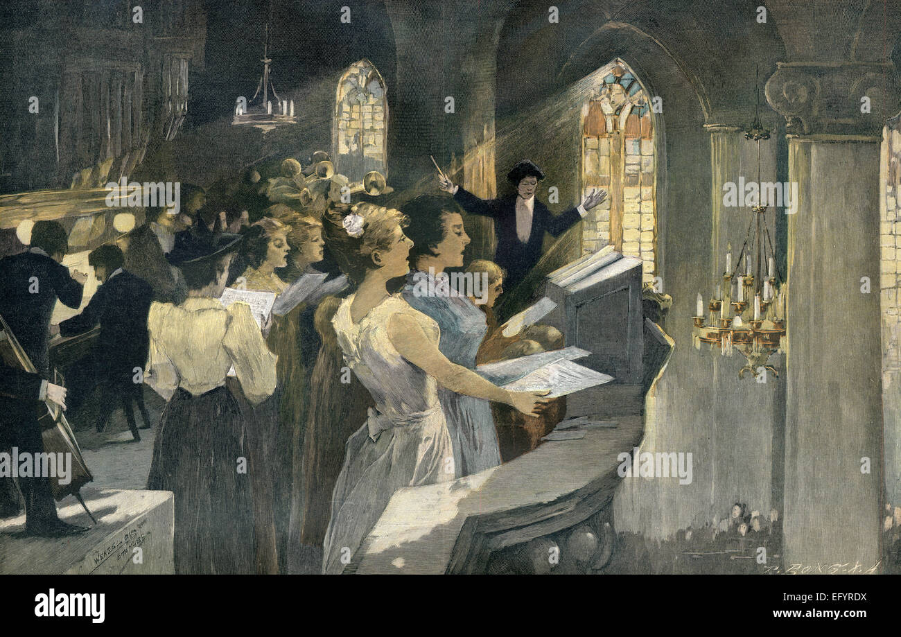 Christmas concert, c. 1895, after Wengel, - Stock Image