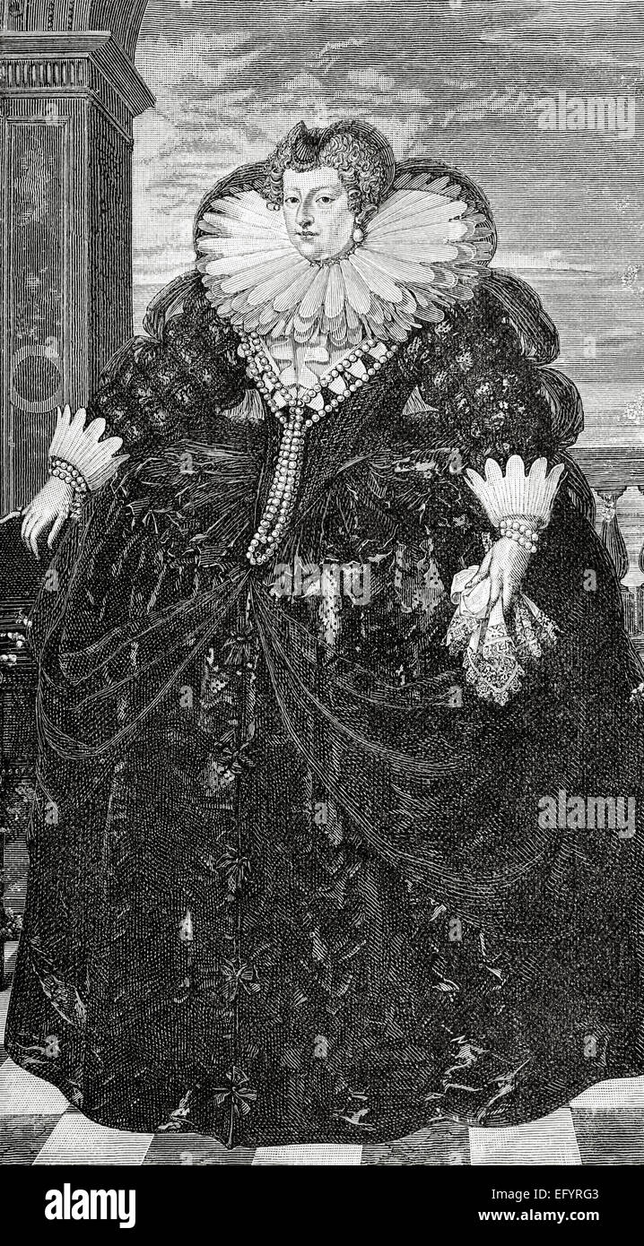 Marie de' Medici (1575-1642). Queen of France as the second wife of King Henry IV of France, of the House of - Stock Image