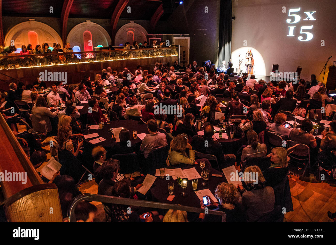 Immodesty Blaize, Elif Shafak, Charles Glass and Ed Smith and Richard Holloway 5 x 15 event @ The Tabernacle , London - Stock Image