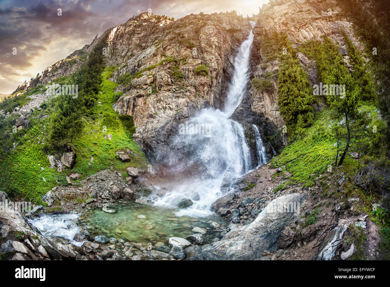 Burhan Bulak Mountain waterfall in Dzungarian Alatau, Kazakhstan, Central Asia - Stock Image