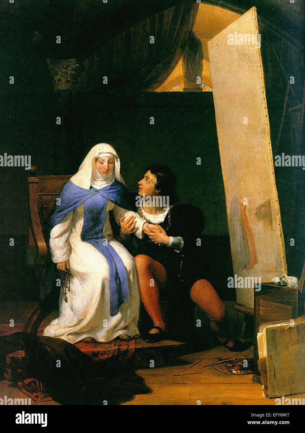 Paul Delaroche  Fra Filippo Lippi Falling in Love with His Model - Stock Image