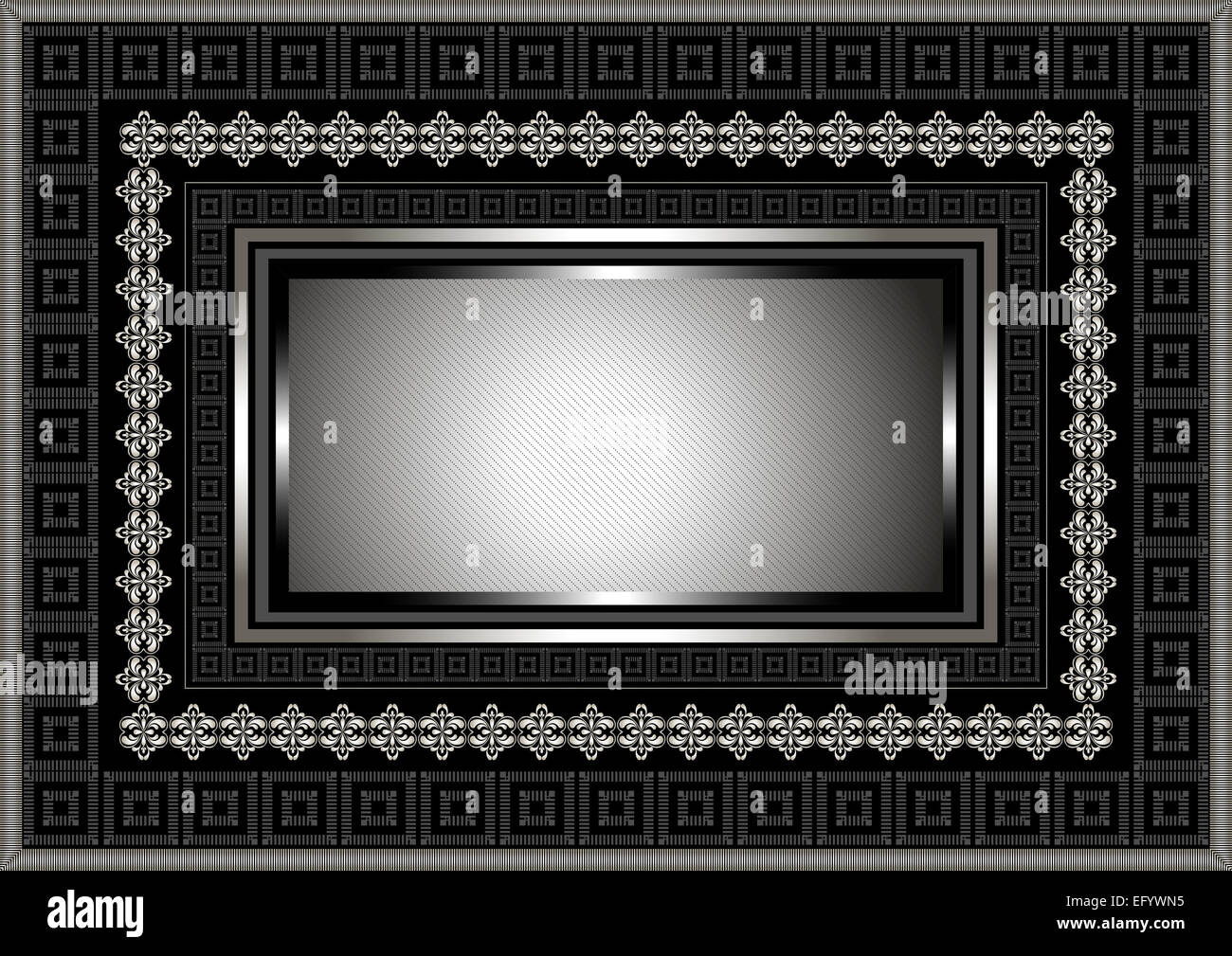 Silver Frame With Geometric Ornament On Black Background Stock Photo