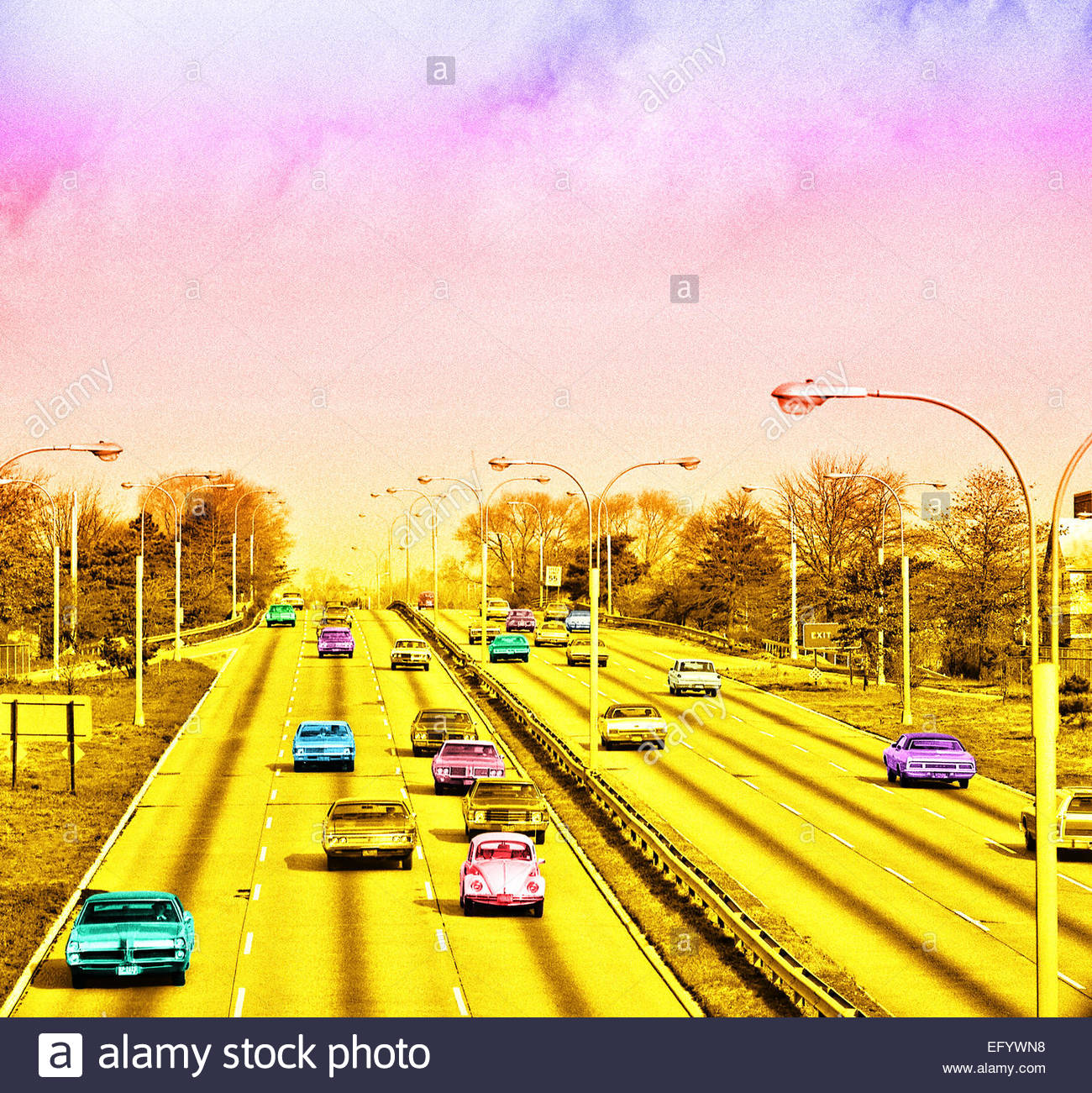 American vintage cars freeway retro grainy image - Stock Image
