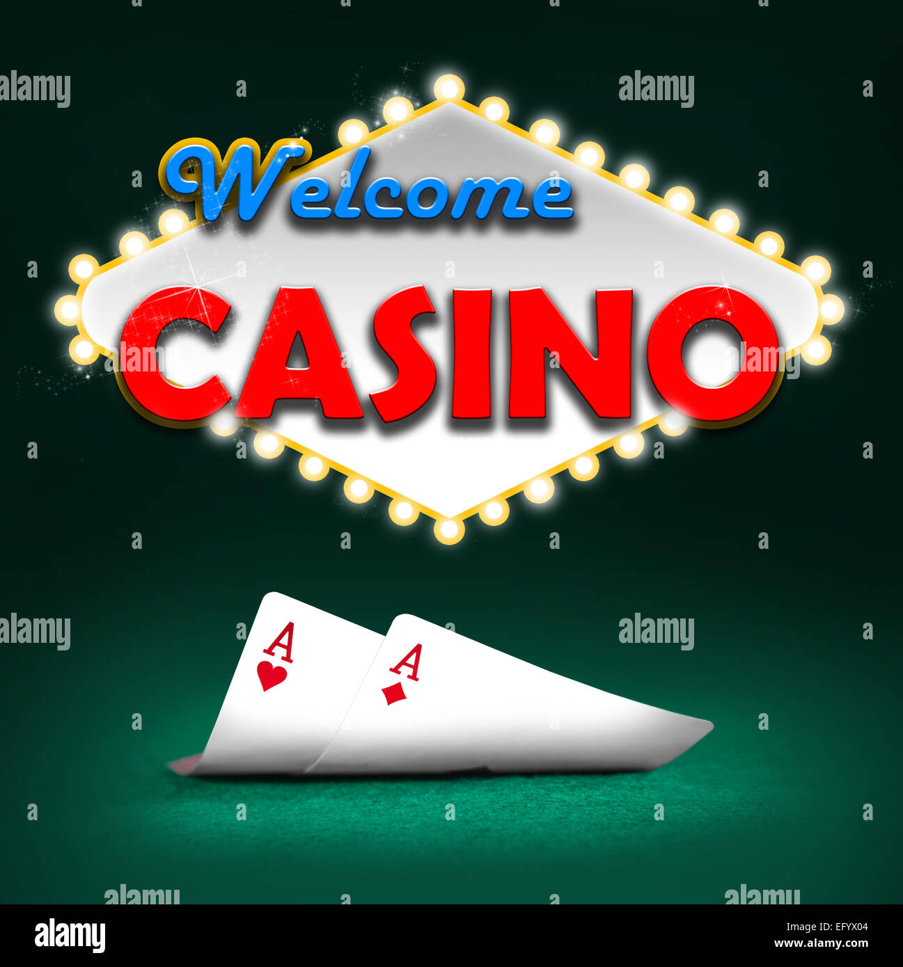 Welcome casino, gambling background color - Stock Image