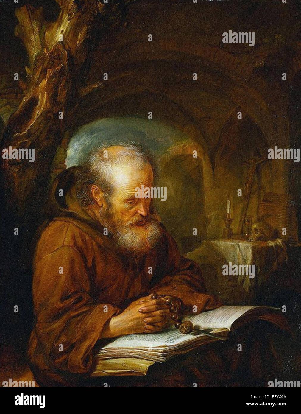 Gerrit Dou  A Hermit Praying - Stock Image